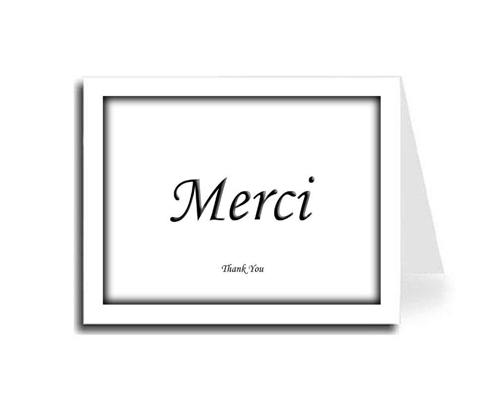 Artisan Decor Shadow Frame Black French Merci & English Thank You Card Set of 5 (Monotype Corsiva Font)