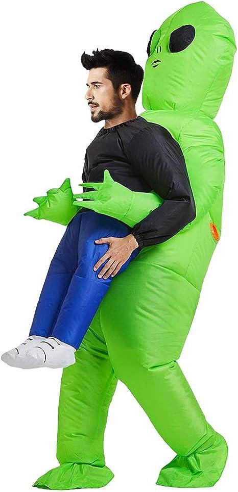 SurfMall Disfraz Inflable de Alien Verde para Fiesta de Halloween ...