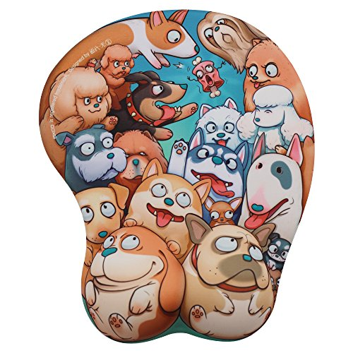 EXCO - 3D Cartoon Ergonomic Mouse Pad with Wrist Rest and Gel Filling - Pop Dog ¡