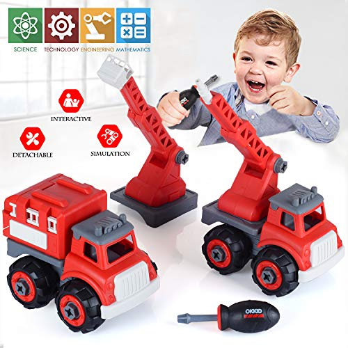 EP EXERCISE N PLAY DIY Take Apart Fire Trucks Toy Playset,Fire Engine Truck,Rescue Ladder Vehicles,Water Tower Assembly…
