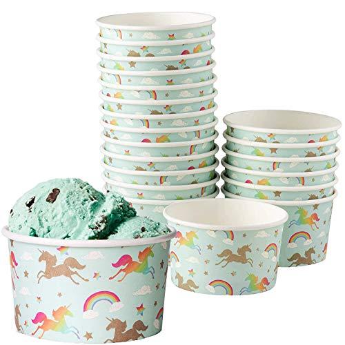 - Juvale 100-Count Ice Cream Sundae Cups, Yogurt Dessert Bowls, Paper Rainbow Unicorn Party Supplies, 8-Ounces, Light Blue