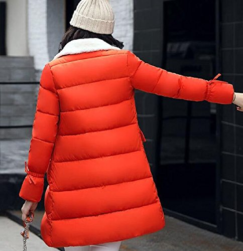 Rivestimento Imbottito Arancione Addensare Caldo Donne Cotone Giacca Atree Risvolto Delle Sherpa qwgxF77ZP