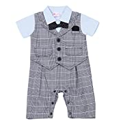 FEESHOW Baby Boys' Cotton Gentleman Outfit Romper Vest with Bow-tie Set (6-9 Months, Blue Gray)