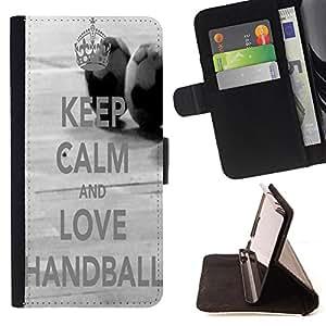 Jordan Colourful Shop -Keep Clam and Love Handball -- Leather Case Absorciš®n cubierta de la caja de alto impacto FOR Apple iPhone 4 4S 4G ---