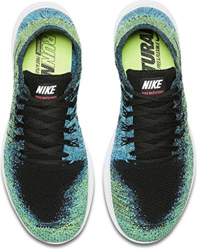 Nike Heren Vrije Rn Flyknit 2017 Hardloopschoen Black / Zwart-volt-chloor Blue 14.0