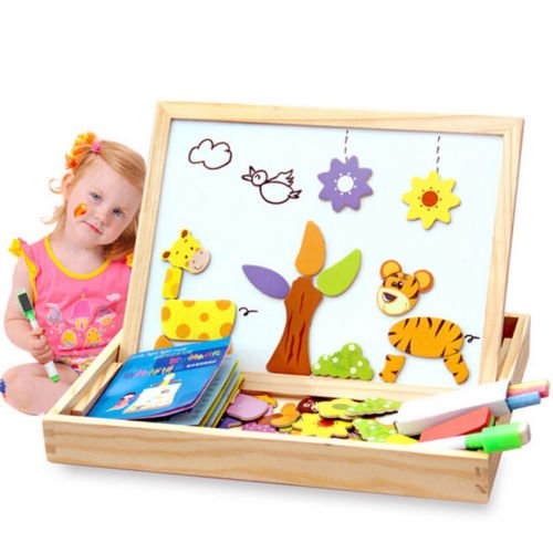 [Baby Kids Educational Wooden Magnetic Drawing Board Jigsaw Puzzle Toys Gift] (Halloween Costumes For 16 Month Old Girl)