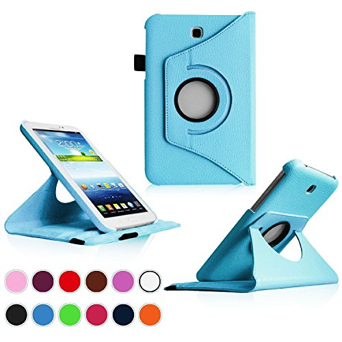 Samsung Galaxy Tab 3 7.0 Case,Flying Horse Tablet Case Cover (Luxury 360 Rotating PU Leather/Smart Cover Wake/Sleep Function)With Pen and Screen Protector (Blue)