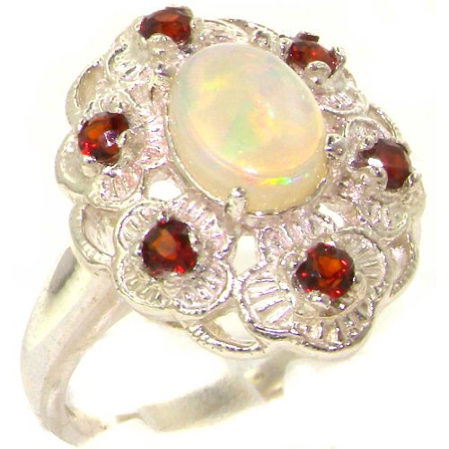 - 925 Sterling Silver Real Genuine Opal and Garnet Womens Cluster Ring - Size 11