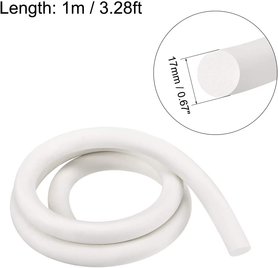 sourcing map Silicone Foam Seal Strip 15mm 2m 6.5ft Sponge Rubber Cord Solid