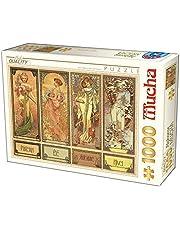 D-Toys Puzzle 5947502875901/MU 12 st 1 000 stycken Alphonse Mucha säsonger, flerfärgad
