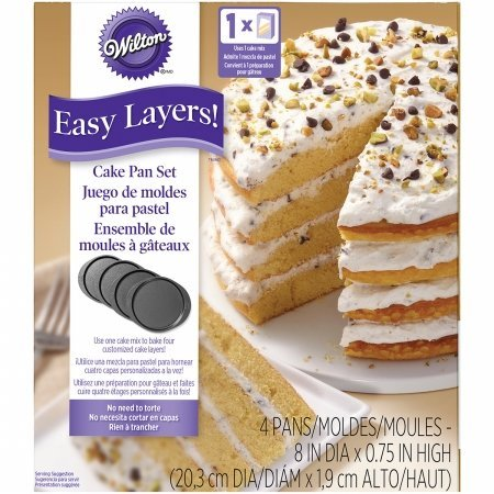 W0188 Easy Layers 8 in. Round Cake Pan Set & 44 4 Piece, Black WILTON INDUSTRIES