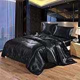 Luxury Classic Silky Satin 3-Piece Duvet Cover Set with 2 Envelope Pillowcases - Premium Ultra-Soft Bedding Collection (US Queen Size, Black)