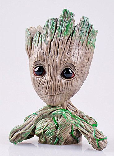 Kawaii Resin Flower Pot Tree Baby Groot Succulent Cute Green Plant Pots With Penholder Best Gift