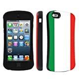 Apple iPhone 5 or 5S Ultra Shock Absorbent Tough Grip Black Case By SkinGuardz - Italian Flag