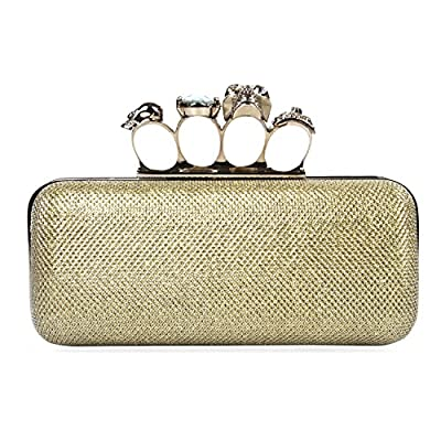 Chichitop Women's Glitter Metallic Duster Four Ring Knuckle Clutch Evening Purse with Rhinestones