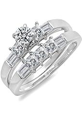 1.50 Carat (ctw) 14k White Gold Round, Princess & Baguette Diamond Ladies Bridal Ring Band Set 1 1/2 CT