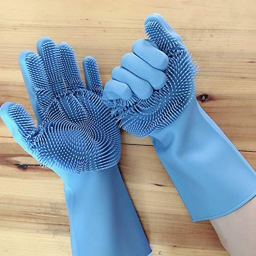 "Price comparison product image Magic Saksak Silicone Dishwashing Sponge Gloves (1 Pair:Left + Right),  Reusable Cleaning Gloves Kitchen Tool for Wife Christmas Gift,  Household,  Dish Washing,  Car Washing,  Dog Bathing (13.6"" Large)"
