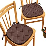 Quilted Memory Foam Chair Pads - Set of 2, Chocolate