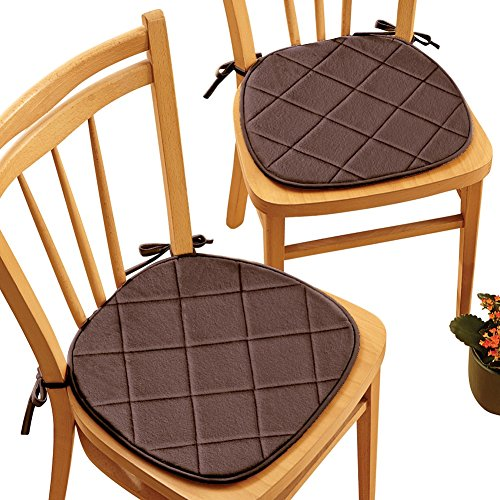 ted Memory Foam Cushioned Chair Pads with Ties - Set of 2, Chocolate ()