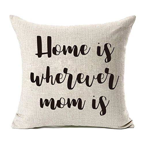 MFGNEH Home is Wherever Mom is Cotton Linen Throw Pillow Covers, Pillow Case Cushion Cover 18 x 18,Mom Birthday Gifts,Mom Gifts