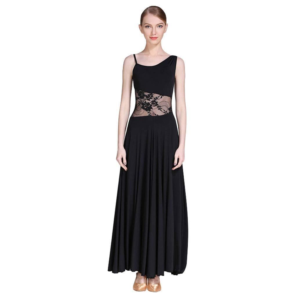 Noir CX Robe De Danse De Valse Moderne Perforhommece Strass , A-Line sans Couture Couture Slim Fit Jupe De Danse De Salon XXL