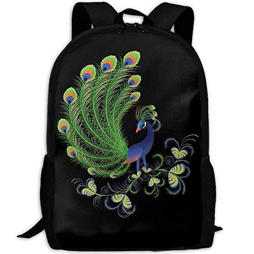 Cartoon Peacock Art Print Custom Casual School Bag Backpack Multipurpose Travel Daypack For Adult