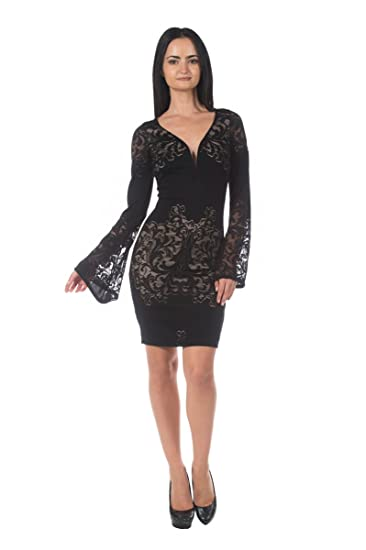 Womens Plus Black Lace Gothic Bell Sleeve Sweetheart Neckline