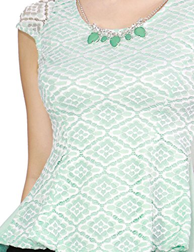 Women's Chic Fitted Flare Lace Over-Lay Shoulder Blouse shirt Fashion Necklace (SMALL, MINT-PT9471)