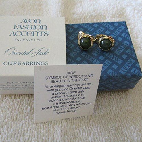 Vintage Avon Oriental Jade Pierced Earrings with Surgical Steel Posts - New in Box