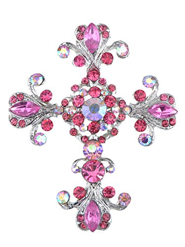 Alilang Victorian Pink Rose Crystal Rhinestone Flourish Floral Holy Cross Pin Brooch