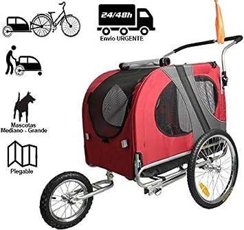 """Remolque de bicicleta para mascotas ( perros medianos - grandes). Remolques con rueda delantera Jogger 12"""". Barra de remolque + Pieza de enganche. Remolque de perros de GRAN CAPACIDAD. Reflectores + r"""