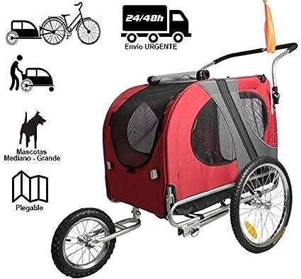 """Remolque de perros de GRAN CAPACIDAD Reflectores Remolque de bicicleta para mascotas Remolques con rueda delantera Jogger 12/"""" Barra de remolque Pieza de enganche perros medianos - grandes rejillas de ventilaci/ón."""