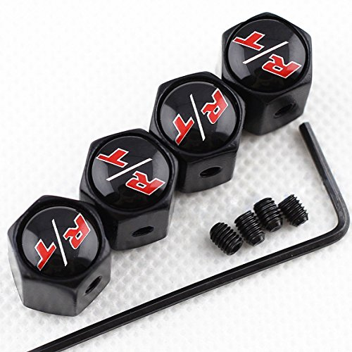 CHAMPLED NEW (4PC) Challenger HEMI R/T RT COLOR WHITE LOGO METAL BLACK ANTI-THEFT WHEEL TIRE AIR VALVE STEM CAPS DUST COVER
