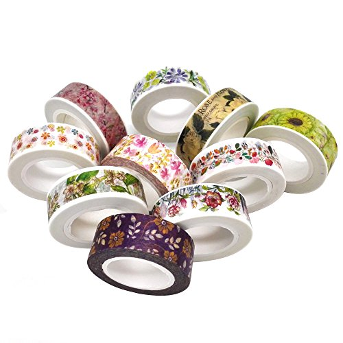 Poproo Floral Washi Tape Collection Set of 10, Decorative Craft Tape for Scrapbooking Decorating and Gift Wrapping (Color2) (Kawaii Friday Halloween)