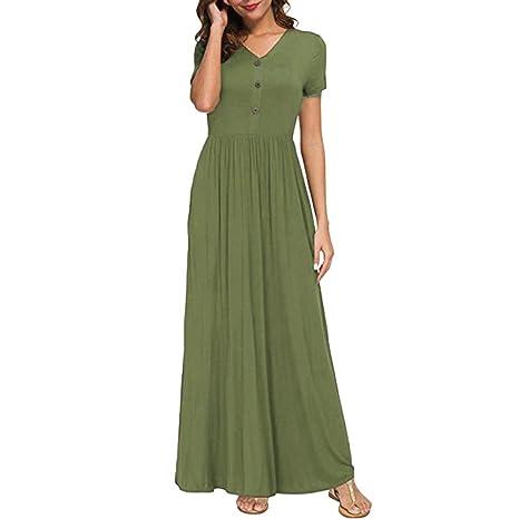 XuxMim Frauen V-Ausschnitt Lässige Taschen Kurzarm bodenlangen Kleid lose Partykleid