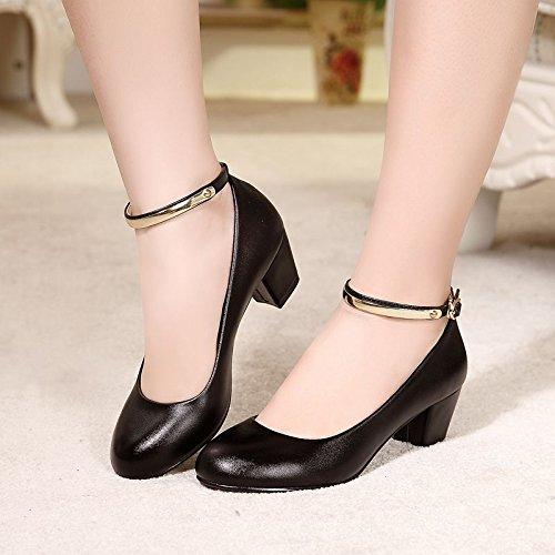 KHSKX-Zapato De Trabajo Chica Negro Medio Tacón Palabra Hebilla Único Zapato Hebilla De Cinturon Profesión Rough Talon black