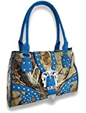 Studded Forest Camouflage Purse W/Rhinestone Buckle And Mock Croc Trim