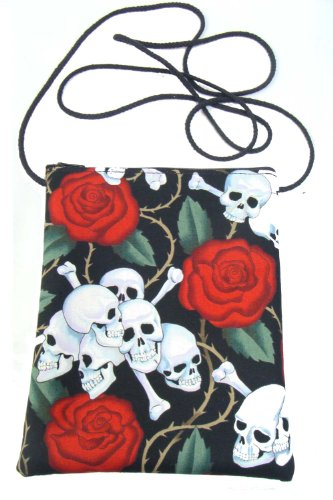 US Handmade Fashion Passport Cover Bag SKULLS RED ROSES TATTOO Day of the Dead Skulls Rockabilly Halloween Gothic Pattern Shoulder Bag US Handmade Han…
