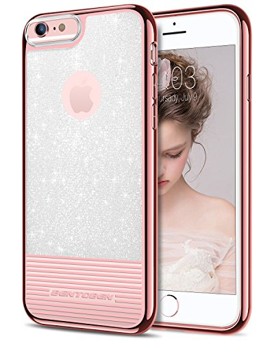 iPhone 6S Plus Case, iPhone 6 Plus Case, BENTOBEN Bling Glitter Clear Drop Protection Hard PC TPU Hybrid Dual Layer Slim Shockproof Stripes Phone Case for iPhone 6S Plus/6 Plus (5.5 inch) Rose Gold