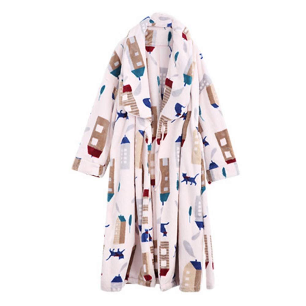 NAN Liang Ladies Gown 100% Cotton Plus Size Bathrobes Thick Warm Pajamas A Font Soft (Size   XL)