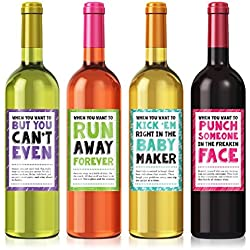 Cheer Up Wine Label Set - set of 4 - Exactly like Photo