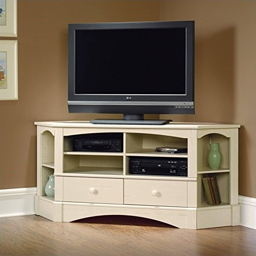 Sauder 402905 Harbor View Corner Entertainment Credenza, 67, Antiqued White (Harbor View Tv Stand)