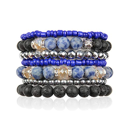 (Bohemian Lava Stone Essential Oil Diffuser Multi Strand Layer Bracelet - Healing Aroma Therapy Beaded Natural Volcano Rock Stretch Bangles Lotus, Hematite ([L-XL] Layer Mix - Blue Sodalite))