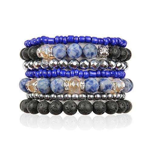 Bohemian Lava Stone Essential Oil Diffuser Multi Strand Layer Bracelet - Healing Aroma Therapy Beaded Natural Volcano Rock Stretch Bangles Lotus, Hematite ([L-XL] Layer Mix - Blue Sodalite)