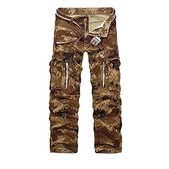 AYG Hombre Pantalon Cargo Pants Camuflaje Pantalones(sand camo,29)