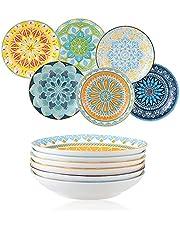 """Ceramic Pasta Bowls Salad Bowl - Porcelain Serving Bowl Set of 6 - 8"""" Wide and Shallow Soup Bowls Plates Set - Microwave and Dishwasher Safe(23OZ)"""