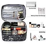 IN Travel Makeup Bag Toiletry Bag Travel Kit Organizer Cosmetic Bag Plum Design Black