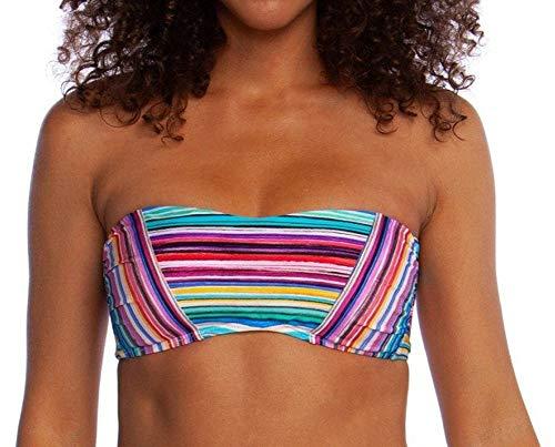 (La Blanca Women's Bandeau Hipster Bikini Swimsuit Top, red//Tahitian Stripe, 12)
