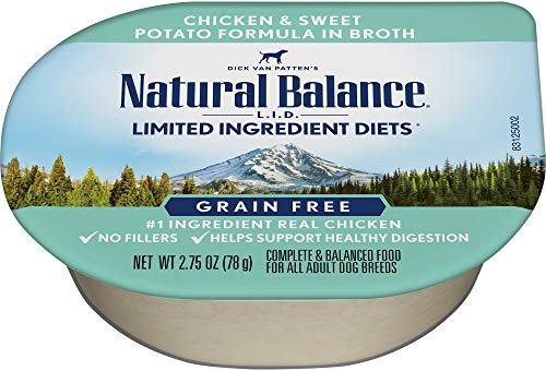 Natural Balance Limited Ingredient Diets Wet Dog Food, Chicken And Sweet Potato Formula In Broth, 2.75-Ounce Cups (Pack Of 24)