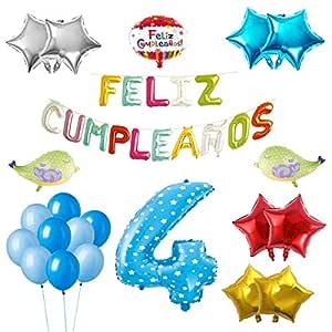 COTIGO-Globos Feliz Cumpleaños Happy Birthday Fiesta Party Docoración para Niños 108 Piezas Globo Látex Azul Color Azul Años 4